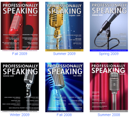 Six covers of Professionally Speaking Magazine